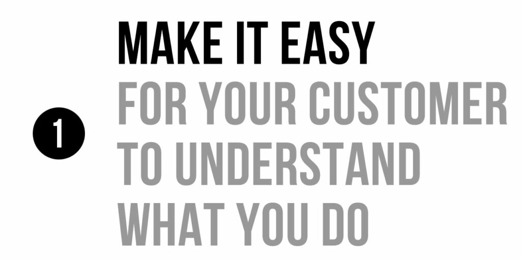 Make it easy for your customer to understand what you do